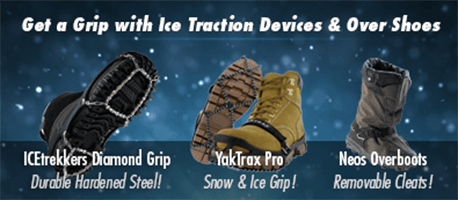 Get a grip with ice traction devices & over shoes