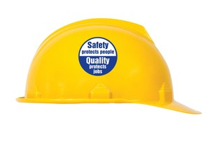 Hard Hat Stickers: Safety Protects People, Quality Protects