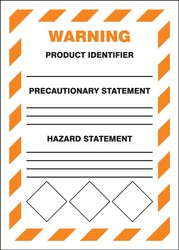 GHS Secondary Container Labels: Warning (Diamonds at bottom