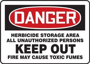 OSHA Danger Herbicide Storage Area All UnauthorizedSign or Label