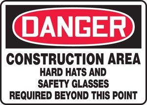 OSHA Danger Safety Sign: Construction Area - Hard Hats And